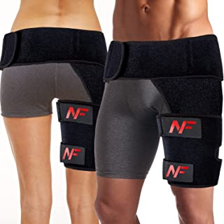 Groin Compression Wrap by NsaneFit – Hip Support Brace for Men/Women - Sciatica Pain Relief - Ideal for injured Groin, Hamstring, Thigh, Hip, and More. – Nonslip Tight Grip