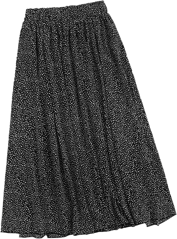 Floerns Women's Plus Size Ditsy Floral Frill Trim Flared Boho Midi Skirt