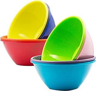 Youngever 32 Ounce Plastic Bowls, Large Cereal Bowls, Large Soup Bowls, Microwave Safe, Dishwasher Safe, Set of 9 in 9 Assorted Colors
