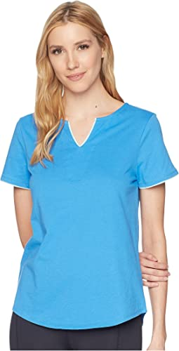Short Sleeve Tunic Top with Contrast Piping
