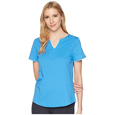 Jockey Short Sleeve Tunic Top with Contrast Piping (Marina Blue) Women