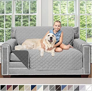 Sofa Shield Original Patent Pending Reversible Loveseat Protector for Seat Width up to 54 Inch, Furniture Slipcover, 2 Inch Strap, Couch Slip Cover Throw for Pets, Dogs, Love Seat, Light Gray Charcoal