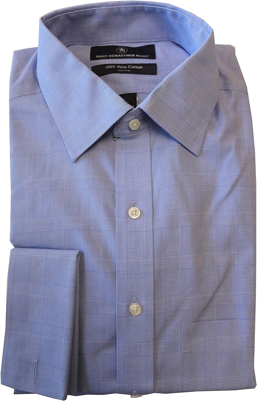 Hart Schaffner Marx Non Iron Classic Fit Check Spread Collar Dress Shirt S85DI044 Blue