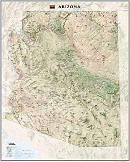 National Geographic: Arizona Wall Map - Laminated (33 x 40.5 inches) (National Geographic Reference Map)