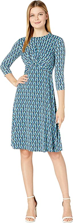 3/4 Sleeve Stretch Knit Jersey Midi with Knot Front and Pleated Skirt Dress