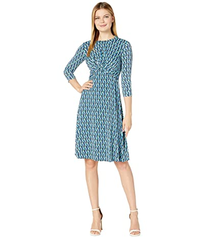 Donna Morgan 3/4 Sleeve Stretch Knit Jersey Midi with Knot Front and Pleated Skirt Dress (Black/Cobalt Multi) Women