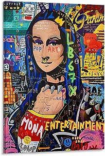 QIFJ Posters Pop Art Monalisa Toile décorative murale pour salon, chambre à coucher 60 x 90 cm