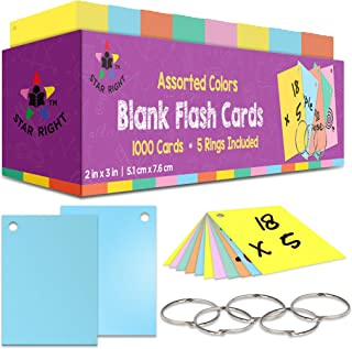 Star Right Blank Flashcards in Assorted Colors   1000 Hole-Punched Cards with 5 Metal Sorting Rings   for School, Learning...