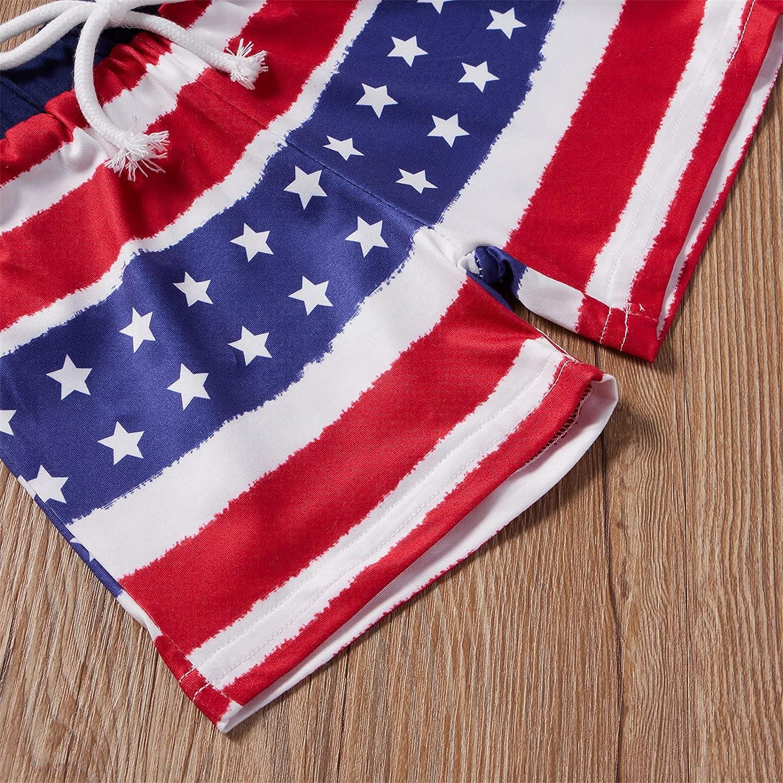 2Pcs Newborn Baby Boys My First 4th of July Outfit Shorts Set Sleeveless Vest Top Stars Stripe Shorts Pants Set