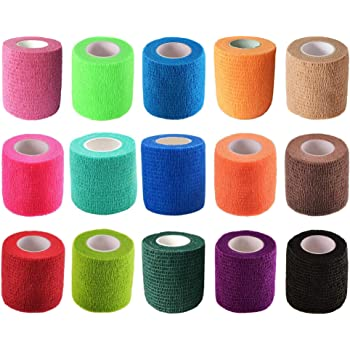 """KISEER 15 Pack 2"""" x 5 Yards Self Adhesive Bandage Assorted Color Breathable Cohesive Bandage Wrap Rolls Elastic Self-Adherent Tape for Stretch Athletic, Sports, Wrist, Ankle"""