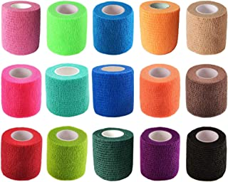 KISEER 15 Pieces Self Adhesive Bandage Wrap Rolls Elastic Self-Adherent Tape for Sports, Wrist, Ankle, 5 Yards Each (15 Colors, 2 Inches)