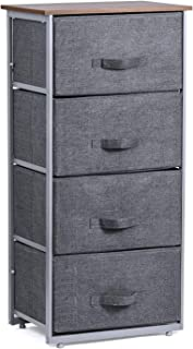 Titanmall Drawer Dresser, 4-Tier Storage Organizer, Dresser Tower Unit for Bedroom, Hallway, Entryway, Closets - Sturdy Steel Frame, Wooden Top, Removable Fabric Bins