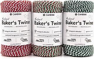 Candini Bäckergarn Rot/Grün/Weiß & Tricolor Set | 3 x 50m | weiches Bastelgarn aus Baumwolle - Premium Qualität aus England - Bakers Twine, Bastelschnur, Baumwollschnur, Geschenkband