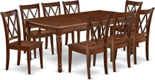 East West Furniture DOCL9-MAH-W 9PC Rectangular 60/78 inch Table with 18 In Leaf and 8 Double X back Chairs, Mahogany