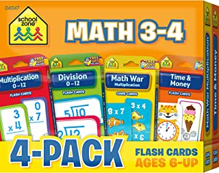 School Zone - Math 3-4 Flash Cards 4 Pack - Ages 6 and Up, 3rd Grade, 4th Grade, Multiplication, Division, Time and Money,...