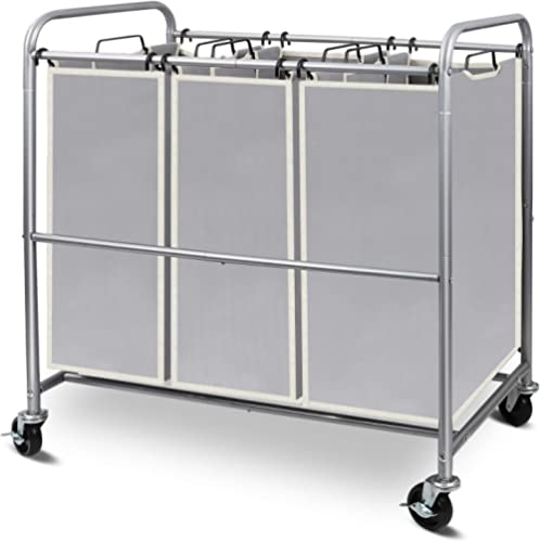 Simple Trending 3-Bag Laundry Hamper Sorter Cart with Heavy Duty Rolling Wheels and Removable Bags, Silver