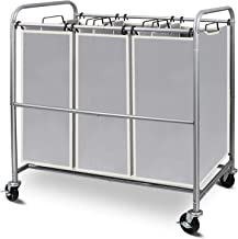 Simple Trending Heavy Duty 3-Bags Laundry Hamper Sorter Cart with Rolling Wheels, Chrome