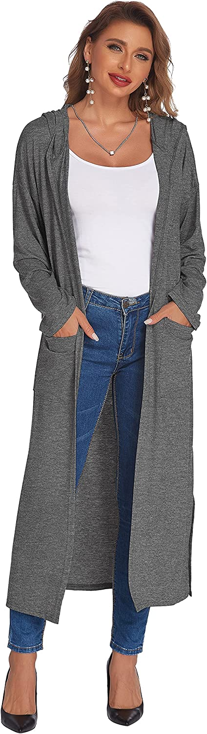 Ekouaer Women's Maxi Cardigan Long Sleeve Hooded Robe Lightweight Open Front Duster with Split Side and Pockets