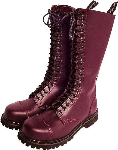 Knightsbridge 20 Agujero Gothic Stiefel con Cubierta De Acero Stiefel De Combate schuhe schwarz Varias Größes