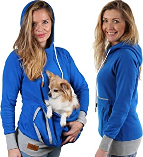 Pet Pouch Hoodie - Cat Dog Holder Cuddle Sweatshirt - Large Kangaroo Carrier Pocket - No Ears Paws - Womens Fit