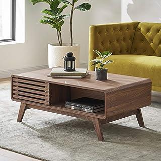 Mopio Ensley Modern Coffee Table, Mid Century Sleek Rectangular Design with Dual Side Storage, Wood Slat Door and Baby Pro...