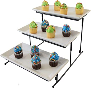 3 Tier Serving Tray Cake Stand Three Tiered Dessert Tray Food Server Display Rack White Plates