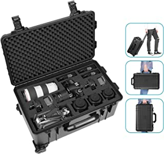Neewer Waterproof Hard Case Camera Trolley Case with Pre-Cut Cube Foam and Hidden Pull Bar for Camera, Tripod, Flash Light, Lens, Laptop, Accessories or Other Photography Equipment (Black)