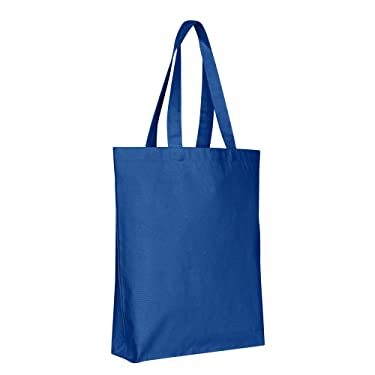 Canvas Reusable Grocery Tote Bags - 15 x 15 x 3 - Bottom Gusset Sturdy Cotton Canvas Bags for Women, Men, Boys, Kids, Adults, Heat Transfer Blanks, DIY, Craft, Grocery Shopping Store (12, Royal)