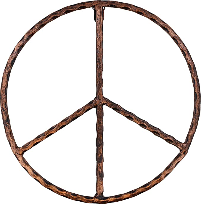 WHY Decor Outdoors Metal Peace Sign Wall Decor Art 12 Rustic Hippie Plaque Peace Everywhere 12 Hanging Vintage Metal Peace Sign Large Rustic Red Metal Groovy Peace Sign for Home Decor
