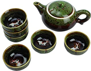 Dark Green Traditional Porcelain Loose Leaf Chinese Teapot 6oz Set With 6 Unquie Small Tea Cup 1.6oz Fancy Raised Kio Fish Antique Vintage Great For Brewing Oolong Jasmine Chai English Breakfast