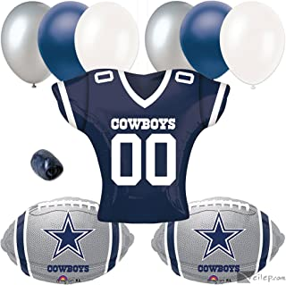 Dallas Cowboys Jersey Football Party 10pc Balloon Pack, Navy Silver White