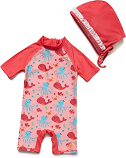 BONVERANO One Piece Swimsuit for Baby Girls UPF50+ Sun Protection Sunsuit