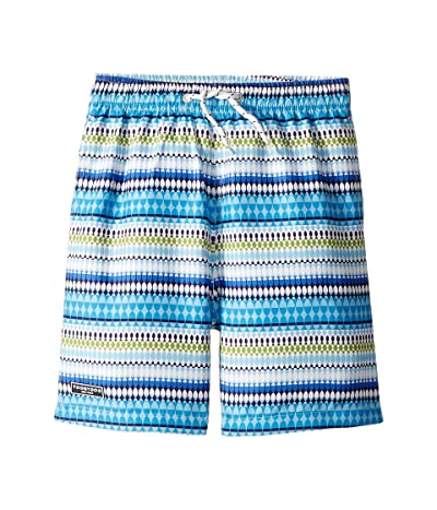 Toobydoo Classic Swim Shorts (Infant/Toddler/Little Kids/Big Kids) (Blue Geometric Print 1) Boy