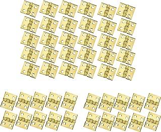 RZDEAL 50 PCS Mini Brass Hinges Hardware 180 Degree Rotation for Dollhouse Miniature Furniture Cabinet Closet(DIY)