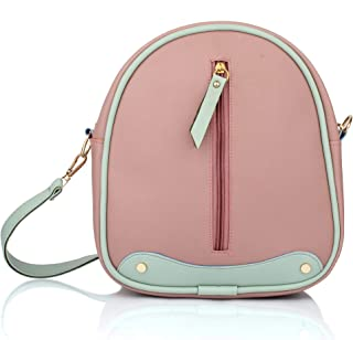 Mammon Girls PU Leather Backpack sling for Women (Bp-Fzip-onion)