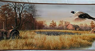 Pheasants Tractor Farm Scene Wallpaper Border - Brown