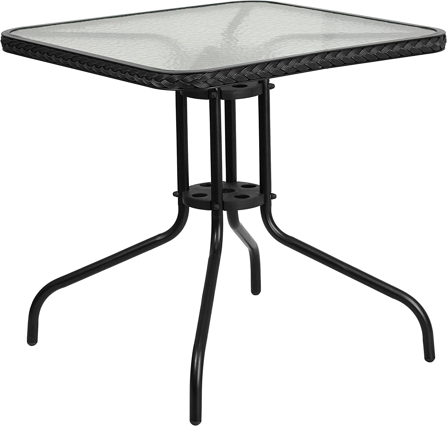 Flash Furniture Square Tempered Glass Metal Table with Black Rattan Edging, 28-Inch
