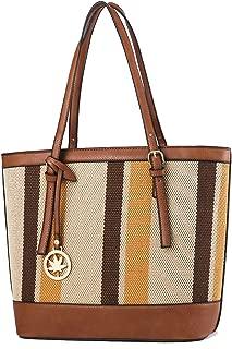 Women Canvas Leather Stitching Bag Tote Shoulder Bag Multi Pocket Handbag Big Capacity Hobo Bag