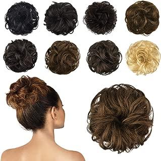 FESHFEN 100% Human Hair Scrunchies (27# Strawberry Blonde) Curly Messy Hair Bun Extensions Wedding Hair Pieces for Women Kids Hair Updo Donut Chignons