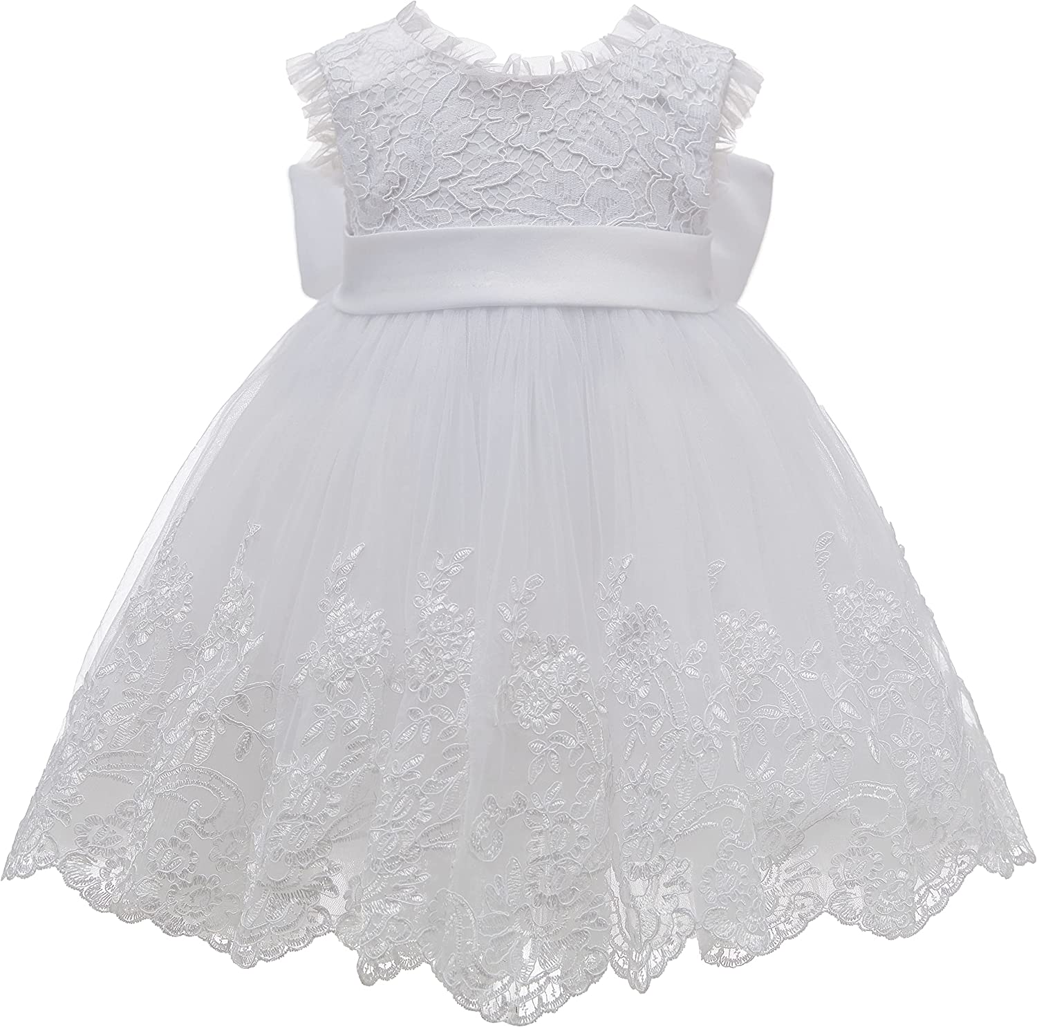 White Flower Girl Dresses Lace Bow Kids Princess Dress First Communion Dresses Birthday New Year