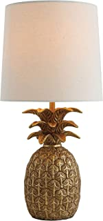 Creative Co-op Pineapple Shaped Table Lamp with Distressed Gold Finish & Linen Shade
