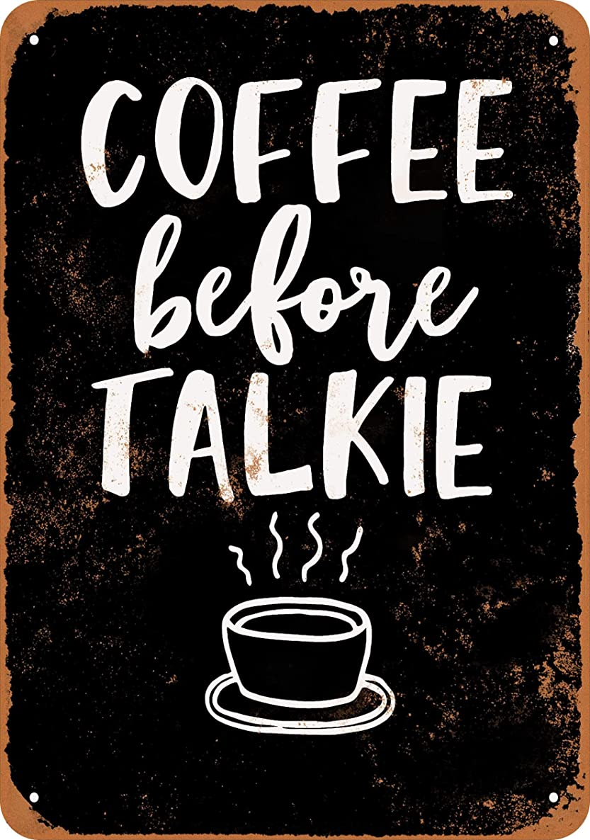 Wall-Color 7 x 10 Metal Sign - Coffee Before Talkie (Black Background) - Vintage Look