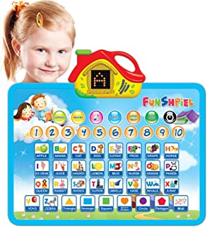 Funshpiel Electronic Talking Board with Letter Sounds, Shapes, and Numbers for Toddlers - Kids Soundboard for Helping Todd...
