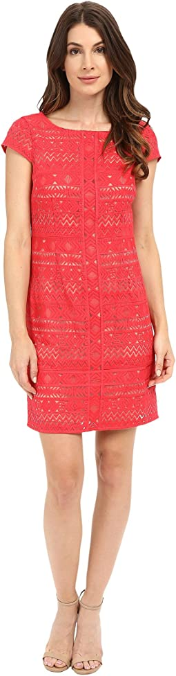 Texcoco Embroidered T-Body Dress with Lace Detail