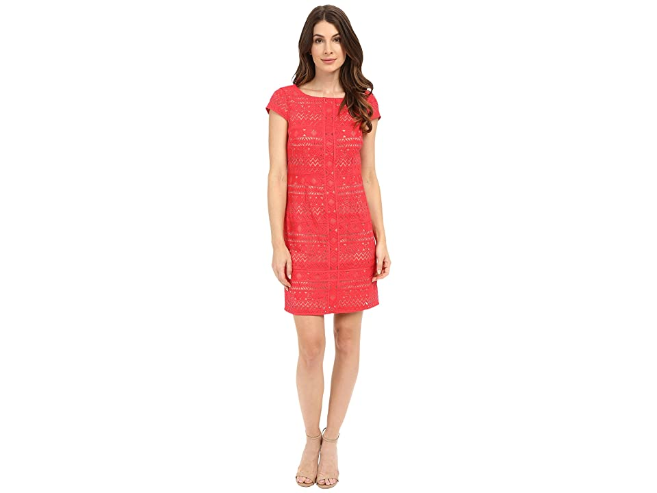 Laundry by Shelli Segal Texcoco Embroidered T-Body Dress with Lace Detail (Coral Rage) Women
