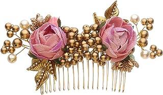 إكسسوارات شعر الزفاف للنساء من أكارشانا جيولز مشط شعر الزفاف لؤلؤة وزهر ذهبي - للعروس ووصيفات العروس مقاس متوسط وردي