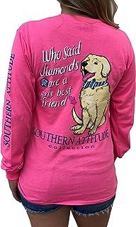 Southern Attitude Who Said Diamonds are a Girls Best Friend Dog Pink Women`s Long Sleeve Shirt