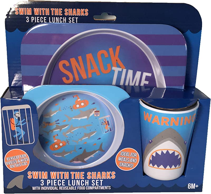 Swim With The Sharks 3 Piece Lunch Set Plate Bowl And Cup