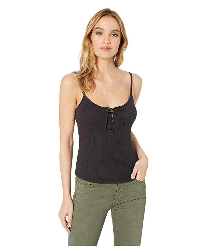 RVCA Hinged Lace-Up Cami Tank Top (Black) Women