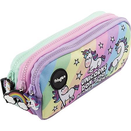 Estuche para lápices de 3 compartimentos FRINGOO, para niños, divertido y bonito, color Unicorns & Homework - 3 Compartments Large